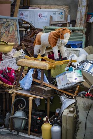 TEL AVIV-JAFFA, ISRAEL - 24 NOVEMBER 2017: Street flea market of old things and antiques in the old district of Tel Aviv