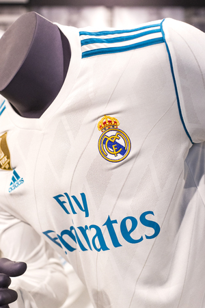 MADRID, SPAIN - 25 MARCH, 2018: Official clothing store and sports attributes for fans Real Madrid Football Club