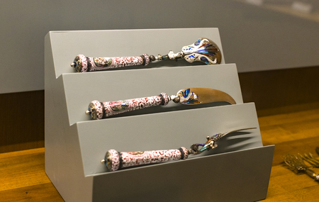 MILAN, ITALY - 6 JUNE 2018: The exposition of the luxury belongings of the nobles of Milan is exhibited in the Sforza Castle Museum.