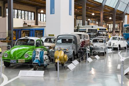 MUNICH, GERMANY - NOVEMBER 26, 2018: Collection of historically known Deutsches Museum Verkehrszentrum.