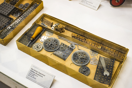 MUNICH, GERMANY - NOVEMBER 26, 2018: The German Museum of Science and Technology represents a collection of metal constructors and its development history. Editöryel