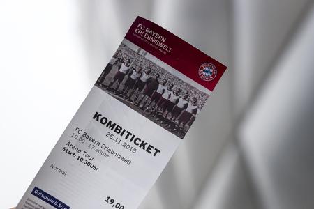 MUNICH, GERMANY - NOVEMBER 25, 2018: Ticket to visit the stadium.