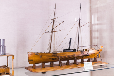 MADRID, SPAIN - 28 MARCH, 2018: The Maritime Museum in Madrid History of the Spanish Navy ship models historical artifacts