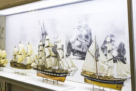 MUNICH, GERMANY - NOVEMBER 26, 2018: The German Museum of Science and Technology presents the history of shipbuilding and marine science.