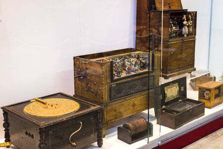 MUNICH, GERMANY - NOVEMBER 26, 2018: The German Museum of Science and Technology represents the exposure musical instrument making history. Editorial