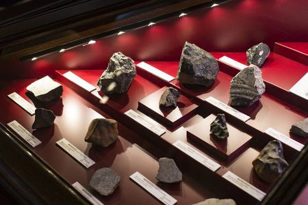 3 SEPTEMBER 2018, VIENNA, AUSTRIA: Collection of meteorites is represented by the Museum of Natural History, Vienna.