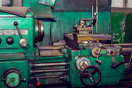 Metalworking machines working mechanisms are shot close-up Stok Fotoğraf