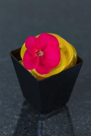 Mini canapes in plastic cups on a dark background of granite stone.
