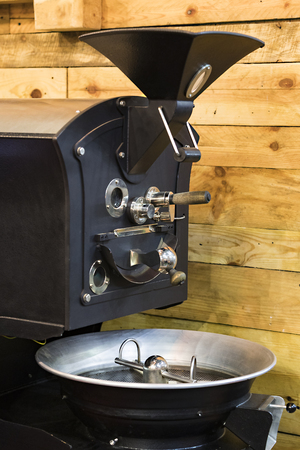 Industrial machine for roasting coffee beans close-up