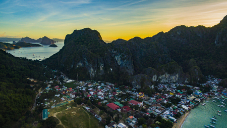 The village of El Nido Palawan Island Philippines with a height