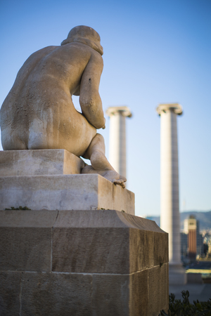 Elements of the architecture of the national park Montjuic at plaza Spain in Barcelona Stock Photo