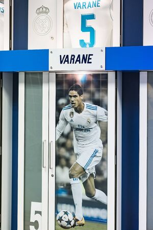 MADRID, SPAIN - 25 MARCH, 2018: Cloakroom for team players of the Royal Stadium of the Real Madrid Football Club.