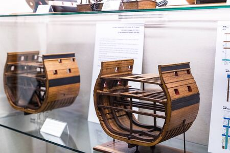 MADRID, SPAIN - MARCH 28, 2018: Expositions Maritime Museum in Madrid history of the Spanish Navy ship models historical artifacts.