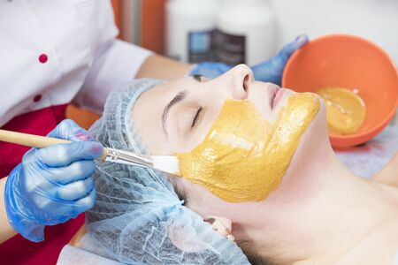 The procedure in the beauty salon applying a personal mask on the face of a woman with a mask of components of the ferrous and non-ferrous metals. Reklamní fotografie