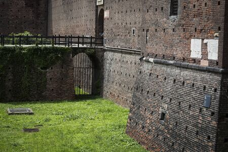 Elements of the architecture of the ancient castle of Sforza in Milan Italy. 版權商用圖片