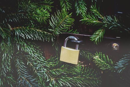 Padlock on the background of fir branches Christmas decoration.
