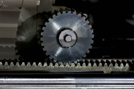 Big steel gear shot close up