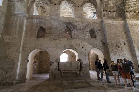 DEMRE, TURKEY - 3 MAY 2017: Church place of burial of St. Petersburg Nicholas elements of ancient architecture.