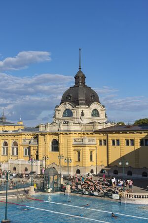 BUDAPEST, HUNGARY - AUGUST 21, 2017: The oldest Szechenyi medicinal bath is the largest medicinal bath in Europe.
