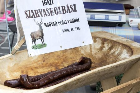 BUDAPEST, HUNGARY - AUGUST 19, 2017: Traditional folk fair in honor of Saint Istvn and the first bread in Hungary with folk masters. Budapest. Hungary Redakční