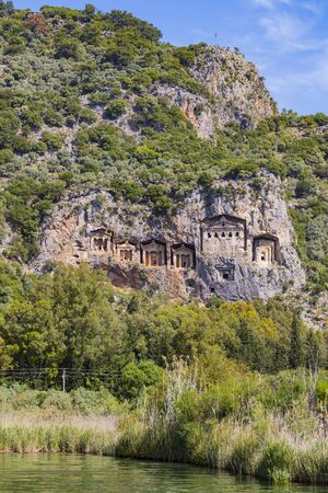 The ruins of ancient antique tombs of Lycian kings in modern Turkey.