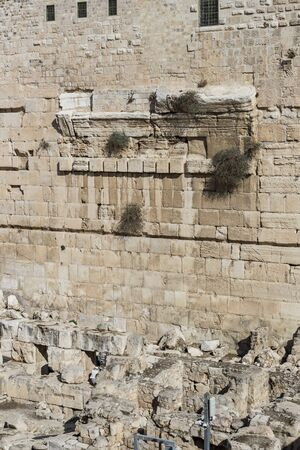 The Ancient Wailing Wall, part of the old city of Jerusalem around the Temple Mount.