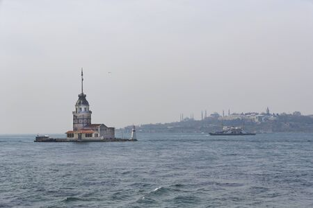 Panorama of the foggy coast of Istanbul from the Bosphorus.
