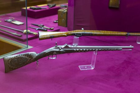 ISTANBUL, TURKEY - OCTOBER 14, 2015: Presented composition of the weapons collection at the Military Museum in Istanbul.