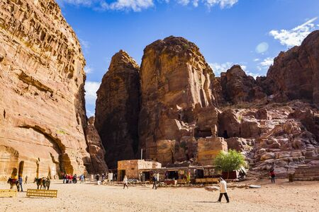 JORDAN, Ancient Petra - 10 JANUARY 2017: Tourist complex of the ancient city of Petra with tourists and locals