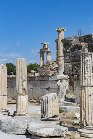 The ruins the ancient antique city Ephesus the library building Celsus, the amphitheater temples and columns. Candidate for the List