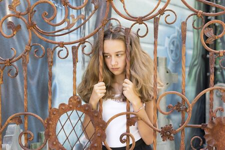 portrait of a young girl in a summer park.