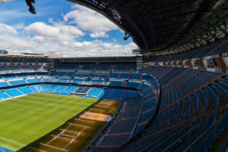 MADRID, SPAIN - MARCH 25, 2018: Tribunes of the Royal Stadium of the Real Madrid Football Club Editorial