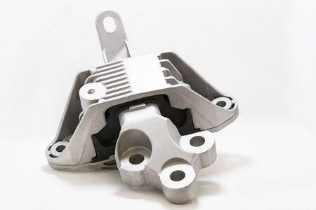 New car parts made of metal shot close-up.