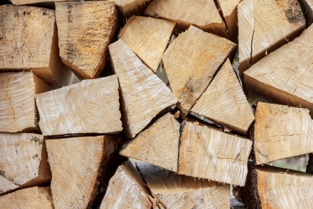woody: Pile of chipped fire wood