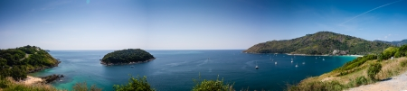 phuket province: Panorama from viewpoint. Yanui and Nai Harn Beach. Phuket.