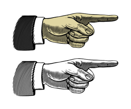 hand sign: Hand met wijzende vinger Vector illustratie, geïsoleerd, gegroepeerd