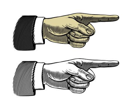 xilografia: Mano con el dedo señalando Ilustración vectorial, aislado, agrupado Vectores