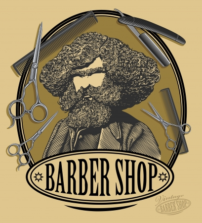 Vintage barber shop sign board with bearded man, scissors, razor and comb in engraved style Çizim