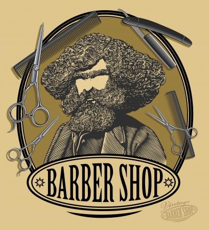 xilografia: Vintage tarjeta de la muestra barbería con el hombre barbudo, tijeras, navajas y un peine en el estilo de grabado