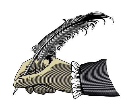 Escritura de la mano con una pluma ilustración vectorial, aislado, agrupado