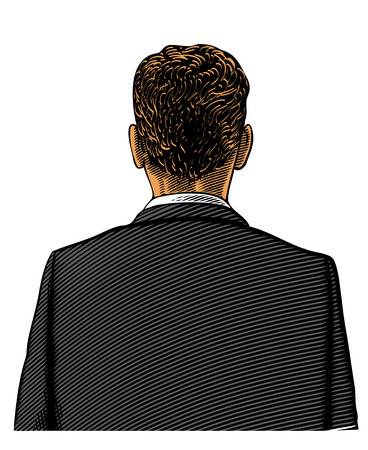 Man in suit from back or rear view in engraved style on transparent background Illustration