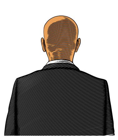 back view man: Rear view of bald man wearing suit