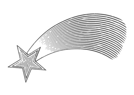 Vector illustration of shooting star in engraved style