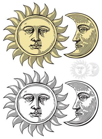 Zon en maan met gezichten Stock Illustratie
