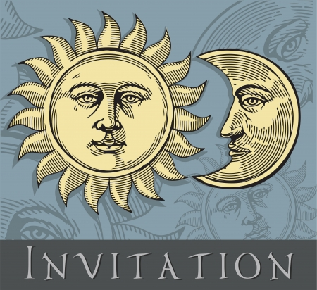 Invitation card with Sun and Moon  Vector illustration Çizim