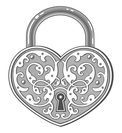 Heart shaped padlock in vintage engraved style Illustration