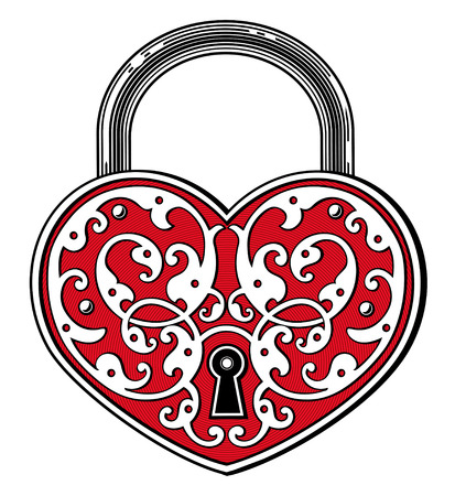 Heart shaped padlock in vintage engraved style Çizim