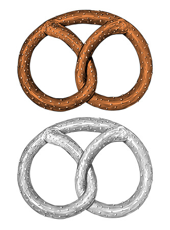 illustration of a traditional pretzel in vintage engraving style