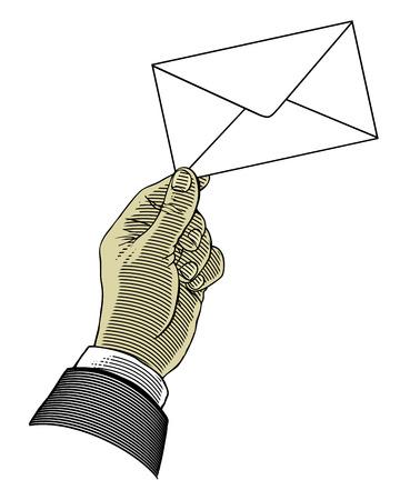 delivering: Hand holding envelope