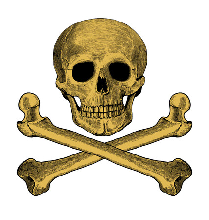 crossbones: Skull and crossbones in engraving style